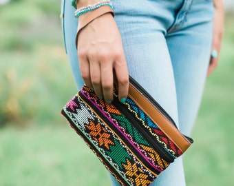 Sale! 25% Off - (Original Price 32.00) Fair Trade Wristlet, Geometric Design Upcycled Fabric and Leather