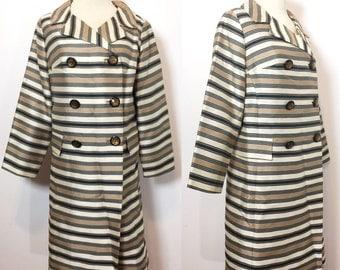 Vintage 1960s Striped Coat / Fred Rothschild Coat Jacket Large / Evening Coat Large