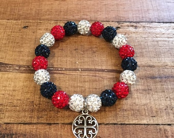 Rustic Red White and Navy - Elastic Shamballa Bracelet