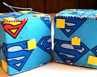 Superman, Superhero, Comic Dice, Car Dice, Fabric Dice, Car Accessory Dice, Handmade, Hand Sewn (OneOfAKind)