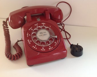 Red Vintage Telephone, Western Electric Rotary Dial Phone, Playboy Bunny Telephone San Francisco, Retro Office Phone, Hot Red Telephone