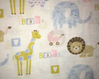 Zoo animals baby fabric by the half yard