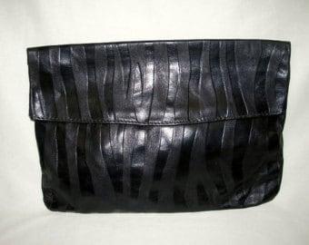 Vintage Black Leather Envelope Clutch Purse - Tiger Stripe Design