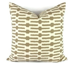 Annie Selke Links in Taupe and Cream Cotton Pillow Cover