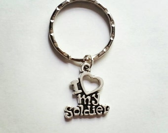 I Love My Soldier Keychain Army, Navy, Airforce, Marines