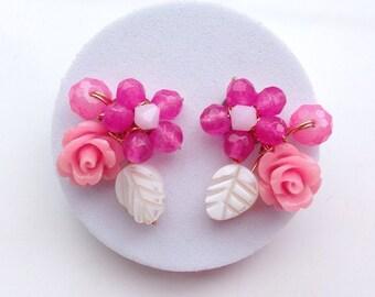 Hot pink earrings ,Stud earrings ,fashion Jewellery uk ,Rose Earrings ,Rose Jewellery ,Floral earrings ,unique stud earrings
