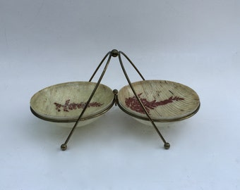 Vintage Mid Century Modern Resin Serving Bowl Set with Stand