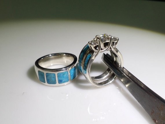 AMAZING turquoise and sterling wedding set.
