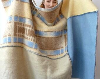 wool plaid , wool blanket, warm blanket wrap , terrace blanket , beige blue and brown blanket, warm wool blanket ,  recycled blanket
