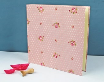 Photo album wedding, baby photo albums, customizable, fabric-related photo album, baptism gift, photo album pink, white, dotted with roses