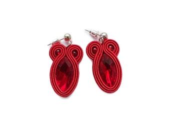 Red soutache earrings ! orecchini soutache, boucles d'oreilles soutache, øredobber, Ohrringe Soutache, Valentine's Day
