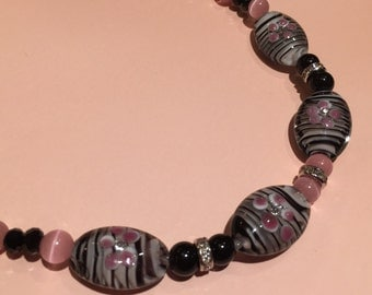 Pretty In Pink Zebra Strips Beaded Necklace