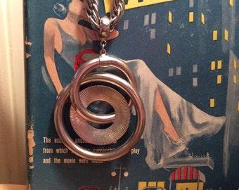 Vintage 1960s 1970s Necklace Mod Sculptural Silver Tone