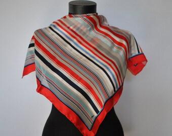 Vintage JEROME LEPLAT silk scarf , small silk scarf...(073)