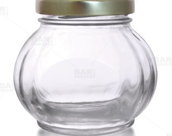 8oz Faceted Round Glass Jar w / Lid