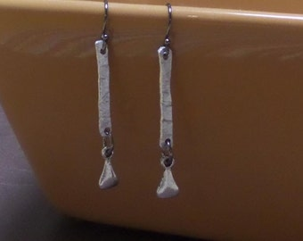 Hammered Aluminum and Silver Plated Pewter Earrings