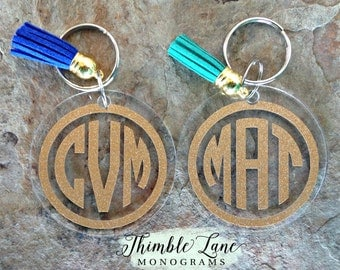 Monogram Keychain with Tassel,  Personalized Keychain, Custom Keychain, Monogram Keychain, Key Chain, Monogrammed Key Chain, Bridesmaid Gift