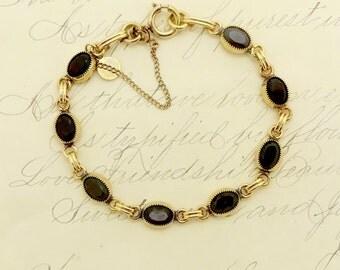 Vintage CELEBRITY GOLD BRACELET 12k Gold Filled Garnet Glass Gemstone Bracelet