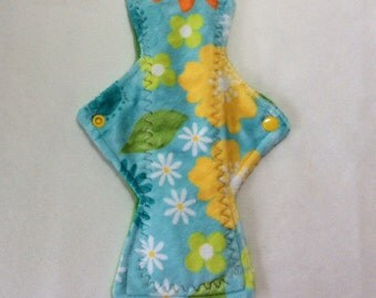 "10"" Teal with flowers on  Minky    Top reusable cloth pad ( regular )"