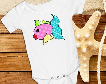 Cute girly fish with bright pinks yellow green and turquoise  White onsie Snap bottom all in one bodysuit