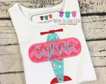 Airplane Baby Girl Outfit - Personalized Baby Girl outfit - baby girl Plane Shirt - Airplane shirt