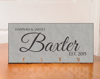 Personalized Key Holder - with 4 hooks - gray theme