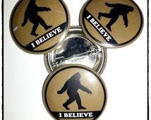 "Bigfoot/Sasquatch ""I Believe""  1.25"" (31.7mm) Pinback Button"