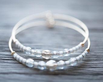 dawn / pale gray and gold hoop earrings