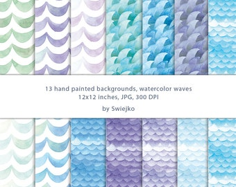Watercolor Digital Paper, Watercolor Pattern, Sea, Ocean Waves (5)