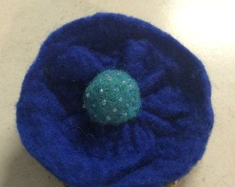 Felted Blue Flower Brooch with glass beading and Green Fabric Back