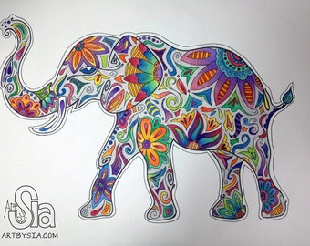 Watercolor Elephant Etsy