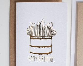 Gold Foil Letterpress Birthday Card, Blank Inside