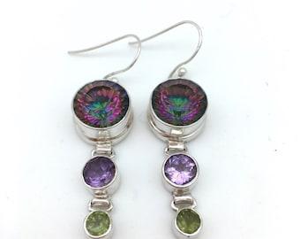 Mystic Topaz, Amethyst and Peridot Earrings