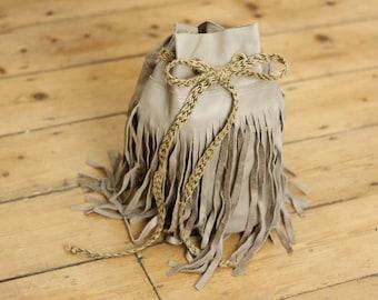 Handmade Real Genuine Leather Duffel Bag Light Brown Tassel Fringe Boho Festival Bucket Shoulder Bag Drawstring Duffle Handbag