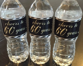 Cheers to 60 Years Birthday Water Bottle Labels - 30th, 40th, 50th, 60th Birthday  - milestone birthday - Digital Download