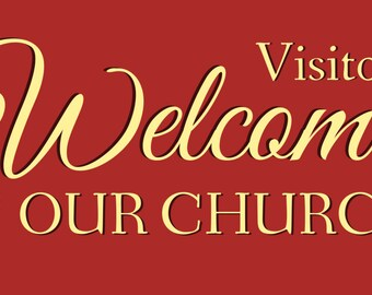 Red Visitors Welcome To Our Church Banner
