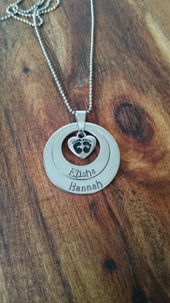 Hand Stamped Necklace with baby feet charm- Stainless Steel perfect for mums and grandmothers