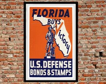 Reprint of the WW2 Propaganda Poster - Florida Victory