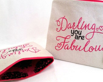Make Up Pouch, Embroidered Makeup Bag, Zipper Pouch, Pink and Black Bag, Eco-Friendly, Travel Bag, Essentials Pouch, You are Fabulous
