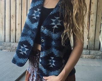 Vintage Blue Aztec Vest