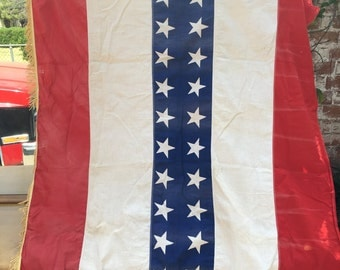 Vintage American flag striped bunting banner with tassles