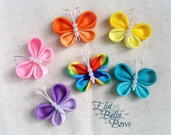 Kanzashi Butterfly Ribbon Sculpture Hair Clip, bug hair bow