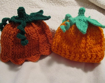 Crochet Lil Pumpkin Hats (Ribbed or Scalloped Edge) - Baby to Adult Sizes - Made to Order