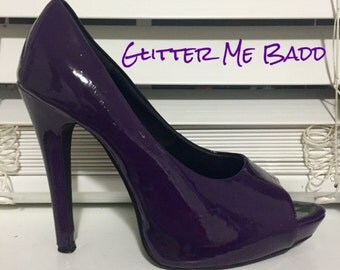 Purple / plum glossy high heels