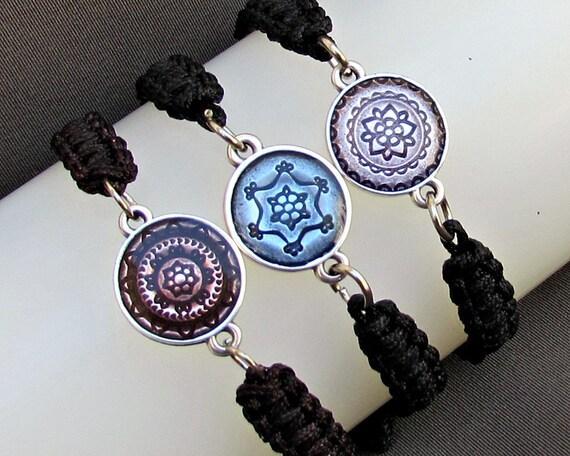 Blue, Purple, Hemp Bracelet, Tibetan Bracelet, Macrame Bracelet, Macrame Jewelry, Adjustable Bracelet, Braided Bracelet, Unisex Bracelet