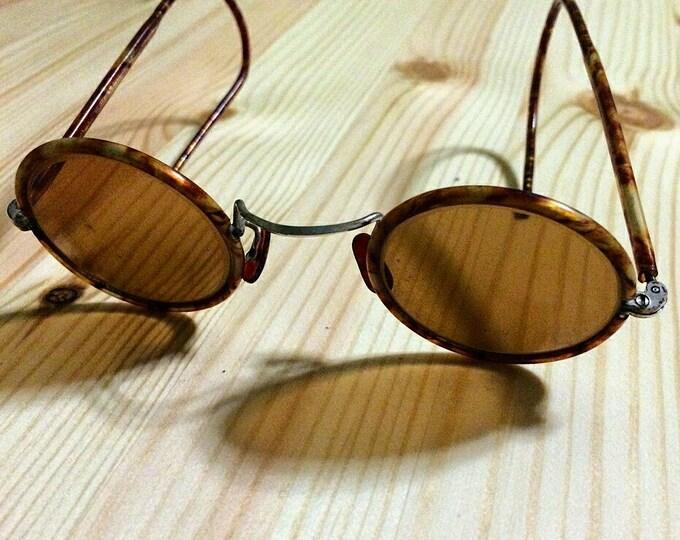 1930s Steampunk Sunglasses Teashades New Vintage WW2 USSR Bakelite Brown Round Lens Thanksgiving Day Christmas Gift