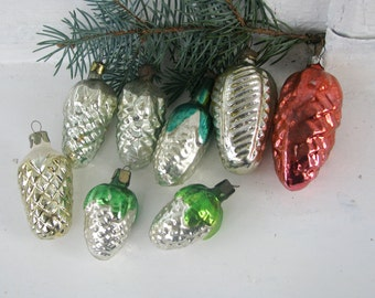 Set of 8 Vintage Soviet Christmas pine cones  tree decoration, Mercury Glass Ornament, Christmas decor, Retro Tree decoration, Made in USSR