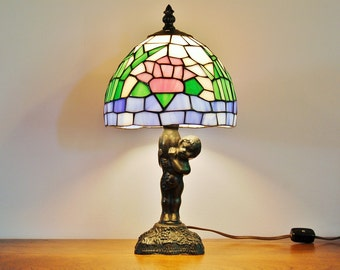 Bronze Cherub Water Lily Stained Glass Accent Lamp, Tiffany Style Water Lilies Serene Calm Lighting, Bedside Lamp, Decorative Lamp
