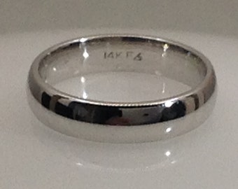 Vintage 4mm 14kt white gold wedding band