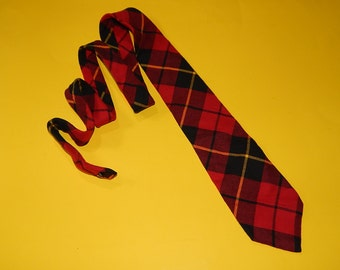 "58"" Plaid Cotton Necktie Red Black Yellow Made in USA"